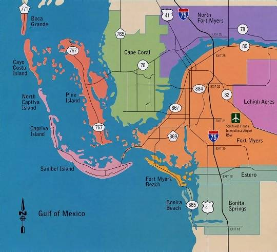 Cape Coral and Fort Myers Map